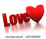 3d illustration of 'love' sign with red heart, over white background - stock photo