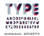 vector of modern stylized font... | Shutterstock .eps vector #605185574