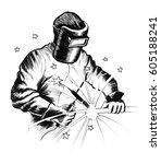 welder at work | Shutterstock . vector #605188241