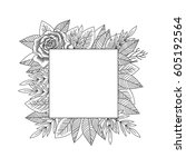 black and white rose and leaves ... | Shutterstock .eps vector #605192564