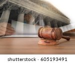 judges gavel on wooden table... | Shutterstock . vector #605193491