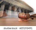 judges gavel on wooden table... | Shutterstock . vector #605193491