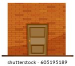 Wooden Door On Brick Wall...