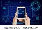 speech bubble conversation talk ... | Shutterstock . vector #605195369