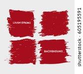 dark red brush stroke frame set.... | Shutterstock .eps vector #605195591