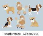 set of cute cartoon poodle ... | Shutterstock .eps vector #605202911