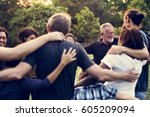 group of people support unity... | Shutterstock . vector #605209094