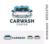 car wash center  vector logo... | Shutterstock .eps vector #605213765