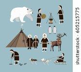 vector set of wild north arctic ... | Shutterstock .eps vector #605215775
