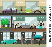 vector set of car service  auto ... | Shutterstock .eps vector #605217857