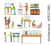 vector set of zoo shop concept... | Shutterstock .eps vector #605217881
