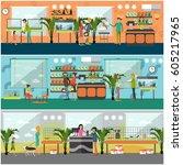 vector set of pet shop concept...   Shutterstock .eps vector #605217965