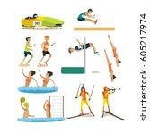 vector set of sport people... | Shutterstock .eps vector #605217974