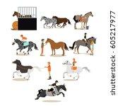 vector set of horse riding... | Shutterstock .eps vector #605217977