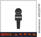 reporter microphone icon flat.... | Shutterstock .eps vector #605220749