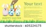 happy easter. place for your... | Shutterstock .eps vector #605224175
