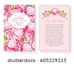 vintage floral background... | Shutterstock .eps vector #605229215