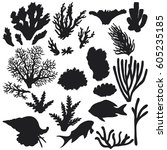 hand drawn underwater natural... | Shutterstock .eps vector #605235185