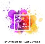 watercolor imitation splash... | Shutterstock .eps vector #605239565