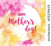 mother's day greeting card with ... | Shutterstock .eps vector #605239619