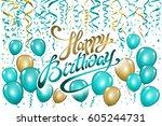 balloons happy birthday on... | Shutterstock .eps vector #605244731