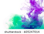 colors dropped into liquid and... | Shutterstock . vector #605247014