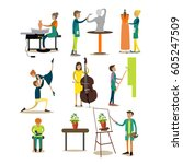 vector icons set of artistic... | Shutterstock .eps vector #605247509