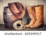 wild west retro leather cowboy... | Shutterstock . vector #605249417