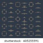 retro rosette and victorian... | Shutterstock .eps vector #605255591