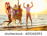group of happy young people...   Shutterstock . vector #605260391
