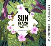 bright vector floral banner... | Shutterstock .eps vector #605261891