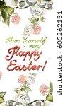 flower watercolor . background... | Shutterstock . vector #605262131