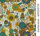 vector floral pattern in doodle ... | Shutterstock .eps vector #605265719