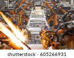 automobile manufacturing | Shutterstock . vector #605266931