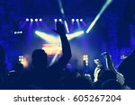 rear view of crowd with arms... | Shutterstock . vector #605267204