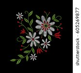 embroidery floral pattern with...   Shutterstock .eps vector #605269877