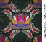vintage floral seamless pattern ... | Shutterstock . vector #605277599