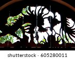 dragon sculptured wood | Shutterstock . vector #605280011