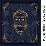 vintage card | Shutterstock .eps vector #605280329