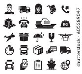 shipping and delivery icons set.... | Shutterstock .eps vector #605289047