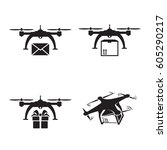 drones delivery icons. black on ... | Shutterstock .eps vector #605290217