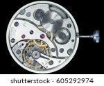 mechanism of pocket watches ... | Shutterstock . vector #605292974
