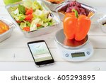 calorie counter app on the... | Shutterstock . vector #605293895