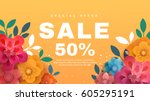 spring sale banner with paper... | Shutterstock .eps vector #605295191