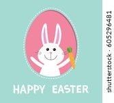 happy easter. bunny rabbit hare ... | Shutterstock .eps vector #605296481