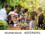 young people having fun on the... | Shutterstock . vector #605296541