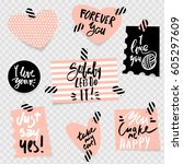 romantic quote on stickers with ... | Shutterstock .eps vector #605297609