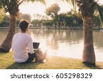 young guy study while sitting... | Shutterstock . vector #605298329