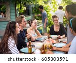 young people having fun around... | Shutterstock . vector #605303591