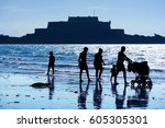 silhouettes of a family at st....   Shutterstock . vector #605305301